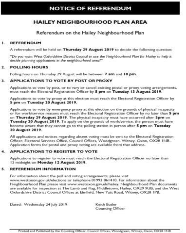 Neighbourhood Planning, Hailey Parish Council