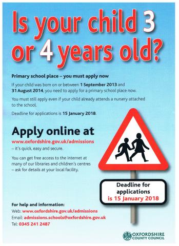 Primary school entry 2018-19, Hailey Parish Council